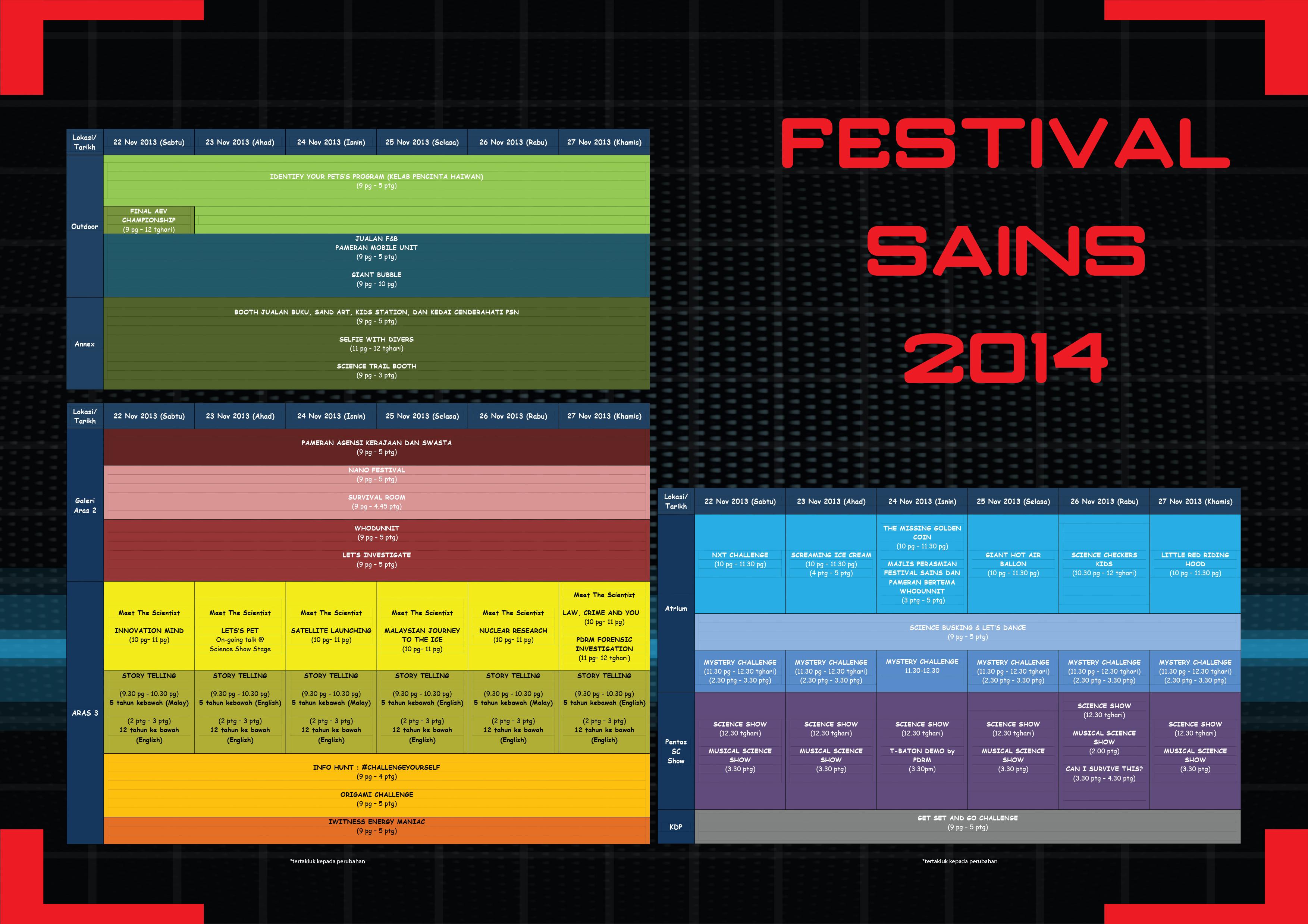 Jadual Aktiviti Festival Sains 2014